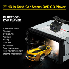 "7"" 2 Din HD Bluetooth Car Stereo DVD CD Player USB/TF FM Aux Input TV Radio Entertainment Multimedia with HD Rear View Camera"