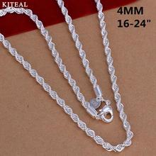 CN4 2mm 4mm 16 18 20 22 24 Twist Rope chain necklace,Wholesale Fashion jewelry 925 stamp silver jewelry necklaces for men women(China)