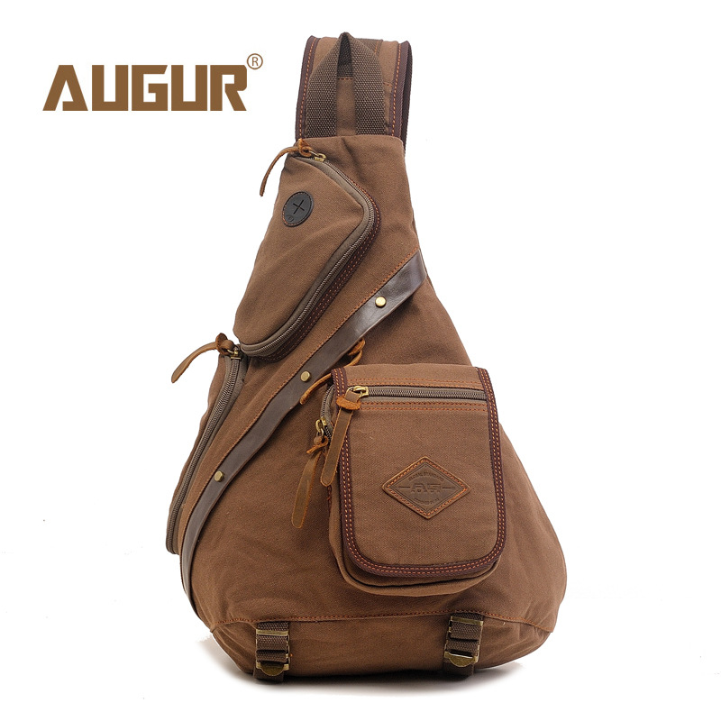 AUGUR Men Chest Back Pack Bag vintage Satchel Single Shoulder Bag Canvas Man Rucksack Knapack Bolsas Male<br>