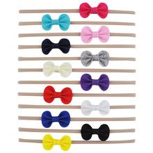 12 PCS Stretch Nylon Headband With Felt Bow Knot Hair Band For Teens Girls Kids Knotted Head Wrap Hair Accessories
