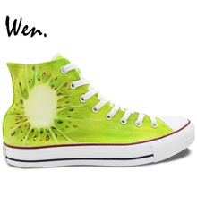 Wen Original Hand Painted Shoes Design Custom Kiwi Fruit High Top Men Women's Green Canvas Shoes Birthday Gifts