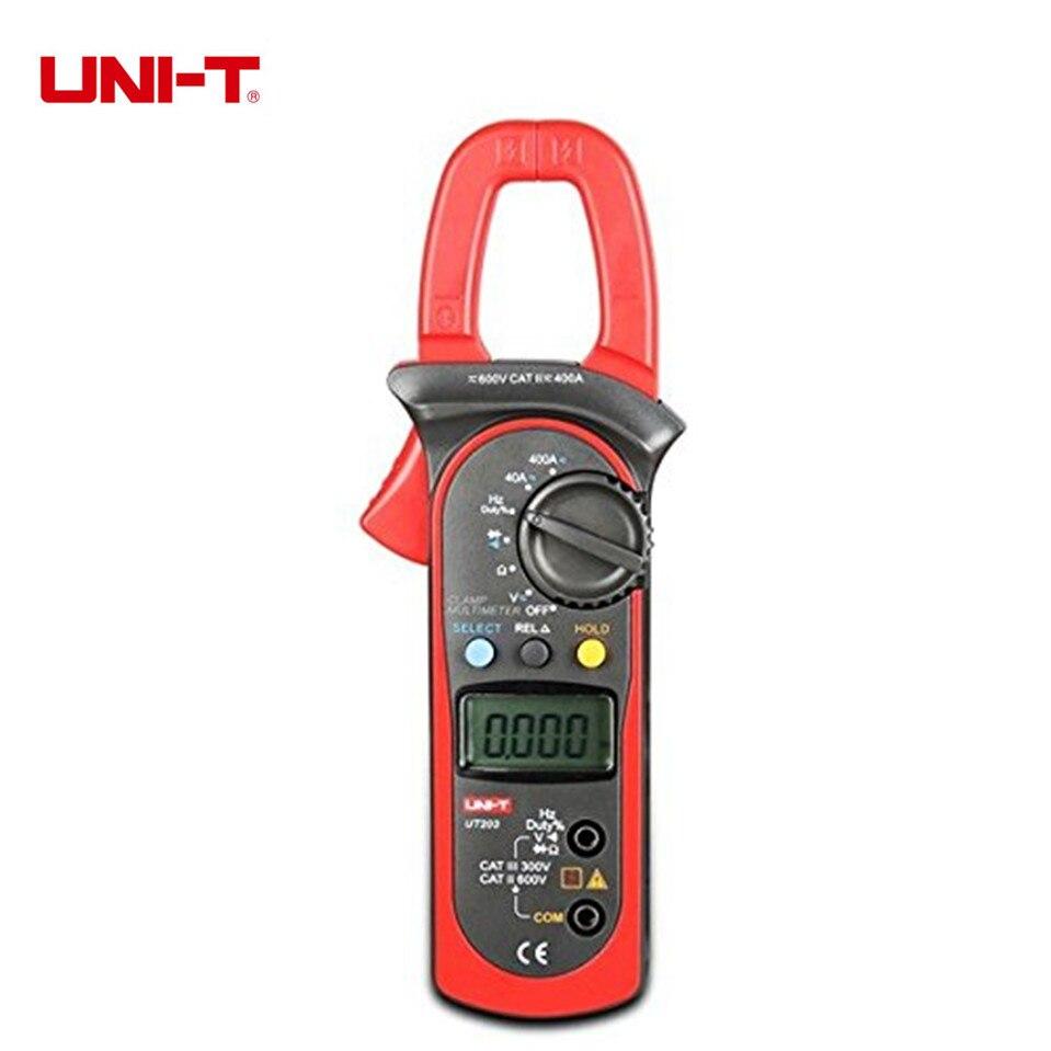 Free Shipping Original UNI-T UT203 UT 203 Digital Clamp Multimeter Ohm DMM DC AC Current Voltmeter 400A<br>