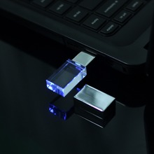 Mini Crystal USB Flash Drive 4GB 8GB 16GB 32GB 64GB Pen Drive USB Memory Stick Disk Pendrive 2.0 With Blue Led Light
