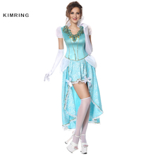 Kimring Sexy Princess Halloween Costume Cinderella Cosplay Fancy Dress Fantasia Halloween Masquerade Blue Adult Costume Women