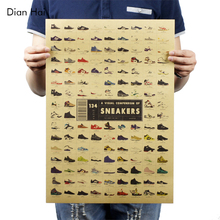 Sneakers Nostalgia Old Retro Kraft Poster Advertising Poster Vintage Decorative Painting Wall Sticker(China)