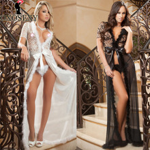 2017 New black white long dress women sexy costumes sexy lingerie erotic lingerie porn low cut sexy underwear lenceria sexy 525(China)