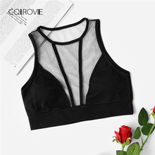 Buy COLROVIE Ladies Sheer Mesh Panel Fitness Bralet 2018 New Arrival Top Black Plain Woman Clothing Sexy Crop Vest for $6.99 in AliExpress store