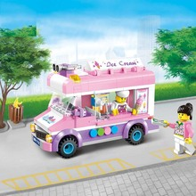 City series of ice cream cars over 6 years old children use the building blocks to assemble 213pcs Girls Gift Toys Games