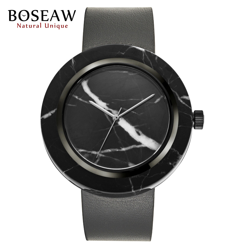 Luxury BOSEAW Natural Unique Marble Men Watch Fashion Stainless Steel Bezel Genuine Cow Leather Strap Relogio Masculino With Box(China (Mainland))