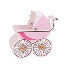 10pcs Stroller Shape Candy Gift Box Baby Shower Favors Candy Packaging 10 Boxs Sweets Candy Boxes Basket(Pink)(China)