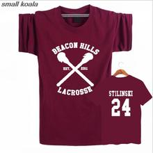 2016 Funny New Fashion BEACON HILLS LACROSSE Maroon T-shirt Wolf Stiles Stilinski Teen 24 Top Summer T Shirt Tee Plus Size