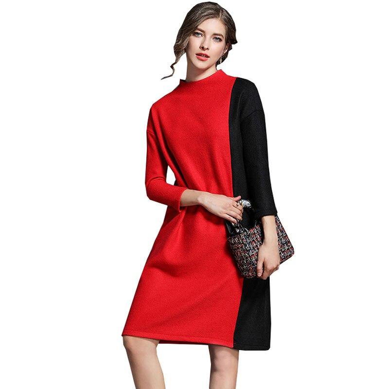 Autumn Winter Pullover Knitted Women Dress Turtleneck 2018 New casual Top Quality Plus size Dresses for womens 4xl Vestidos Z502Îäåæäà è àêñåññóàðû<br><br>