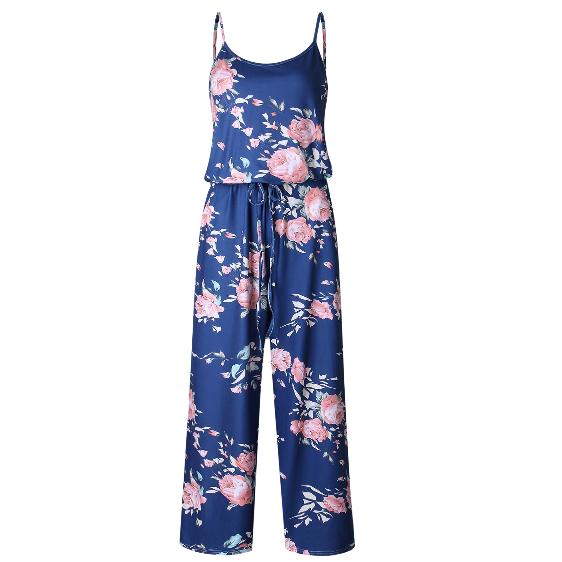 Spaghetti Strap Jumpsuit Women 2018 Summer Long Pants Floral Print Rompers Beach Casual Jumpsuits Sleeveless Sashes Playsuits 22
