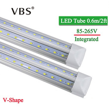 LED Tube T8 Integrated 600mm 20W 2FT V-Shape Led Bulbs Tubes Light 2Feet AC85-265V 96LEDs SMD2835 2000lm 270 Degree CE ROHS(China)