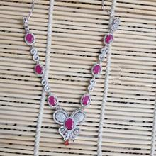 2017 Qi Xuan_Fashion Jewelry_Red Stone Elegant Butterfly Party Necklace_S925 Solid Silver Necklace_Manufacturer Directly Sales(China)