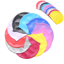 Adults Children Waterproof swimming caps badmuts silicone swimming hat man women candy colors swimming wear hat caps(China)