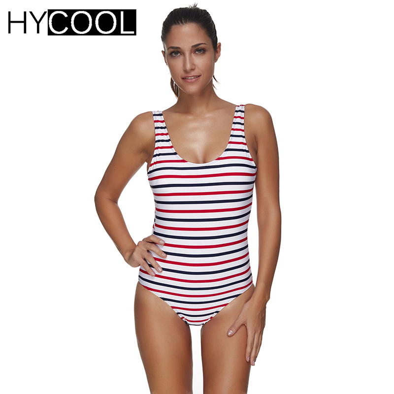 HYCOOL 2017 Women Swimwear One Piece Swimsuit Monokini Sport Striped Bathing Suit Women Swimming Suit Beachwear PLus Size 3XL<br>