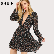 Buy SHEIN Sexy Dress Multicolor Deep V Neck Long Sleeve Zipper Back Line Dress Plunge Neck Ruffle Cuff Botanical Dress for $22.97 in AliExpress store
