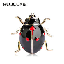 Blucome Fashion Ladybug Brooches Black Enamel Gold-color Insect Brooch Kids Lady Girls Men Jewelry Suit Collar Pins Corsage Clip(China)