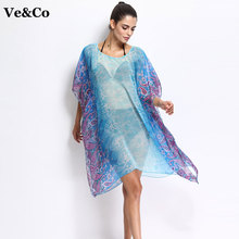 VE&CO Brand Swimwear Women Pareo Beach Cover Ups 2017 Summer New Design Bikini Cover Ups Floral Chiffon Bathing Suit Cover Ups