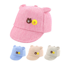 Casual Cotton Baby Cap For Girls Thin Spring Summer Baby Sun Cap Cartoon Bear Ears Newborn Boys Hat Fashion Baby Girls Clothing(China)