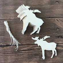10pcs/set Christmas Wooden Laser Engraving Hollow ELK Handicraft Christmas Tree Home Decoration Accessories LTW1253(China)