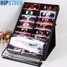 HIPSTEEN 16pcs/18pcs Sunglasses Reading Glasses Show Stand Holder Eyewear Display Stand Holder Storage Box Case-Black + White(China)