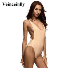 2017 Deep V Revealing Sexy Nude one piece swimsuit Backless female Swimwear women Bathing suit swim suit for women Monokini Y111(China)
