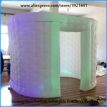 new design weding event white ellipse inflatable photo booth with LED strip