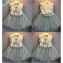2016 Princess Baby Girls Summer Vest Tops & Tutu Dress Mini Party Outfits 2-7Y