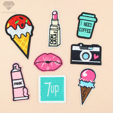 Camera Lips 7up Embroidered Iron on patches for clothes Stripe for clothing embroider Badges T-shirt Shoes