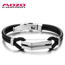 MOZO FASHION Hot Sale Male Jewelry Stainless Steel Spring Buckle Men Bracelet Genuine Silicone Bracelets Rubber Wristband MPH522(China)
