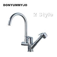 NEW Kitchen Faucet With Pull Out Spray Gun 360 Degree Rotation Solid Brass Chrome Finish Vessel Sink Basin Tap Mixer Torneira(China)