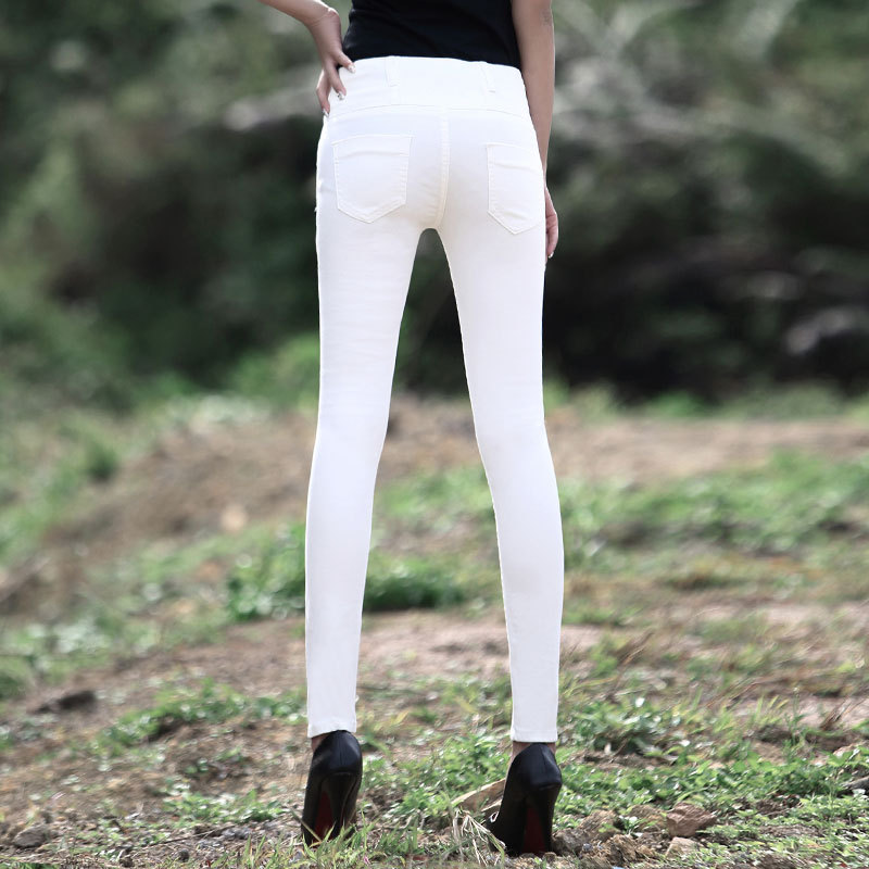 Saling 2017 summer Korean Top fashion Womens pencil denim pants sexy high waist vintage washed solid white woman jeans D83Одежда и ак�е��уары<br><br><br>Aliexpress