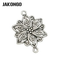 Buy JAKONGO Antique Silver Plated Flower Connector Jewelry Making Bracelet Earrings Accessories DIY 40x28mm 6PCS/lot for $1.63 in AliExpress store