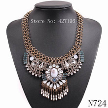 2017 New Arrival Design Fashion Brand Choker Big Pendant Gold Color Chain Chunky Statement Necklace For Women USA Jewelry