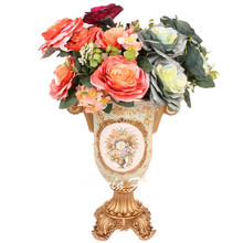 Euro style luxury Pearl fabric silk rose wedding flower bouquet artificial penoy  home drawing room decoration flower