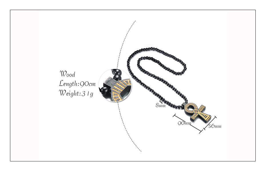 Meaeguet Carving Ancient Egypt Ankh Pendant Necklace For Men Amulet With 8mm Wood Beads Chain Length -90CM (6)