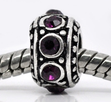 Buy DoreenBeads antique silver Purple Rhinestone Spacer Beads Fit European Charm 11mm,10PCs, 2015 New for $1.62 in AliExpress store