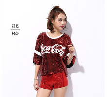 2017 New female sexy nightclub ds costumes jazz Dance Wear tops singer perform t shirt hip-hop clothing sequined tops