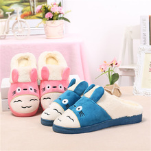 Slippers Real Plush Pvc Cartoon Animation Indoor Flock 2017 New Warm Soft Sole Shoes Winter Home Fluffy Slippers