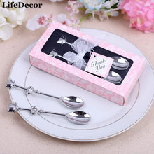 Creative Stainless Steel Coffee Spoon Wedding Favors and Gifts for Guests Wedding Souvenirs Box wedding celebration supplies(China)
