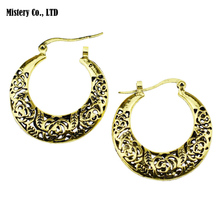 Antique Gold Color Hollow Out Flower Hoop Earrings Vintage Jewelry Jewellery For Women Girls