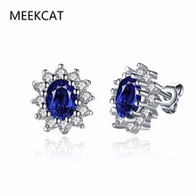 MEEKCAT Princess Diana William Kate Middleton's 1.5ct Created Oval Blue Sapphire Stud Earrings White Gold Color Jewelry Brincos