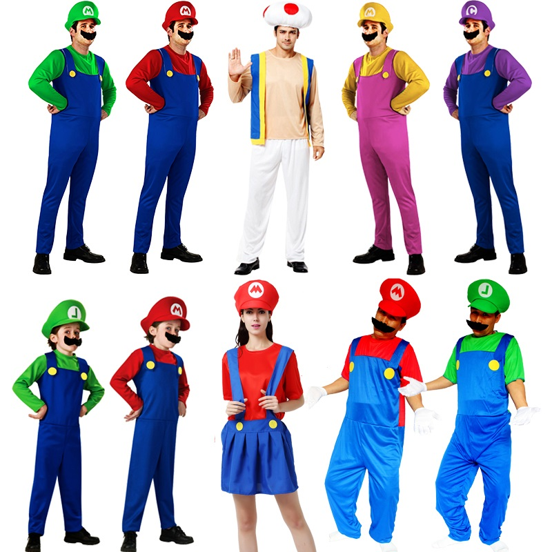Kids Princess Peach Costume Super Mario Bro Cosplay Luigi Gown Dress Halloween