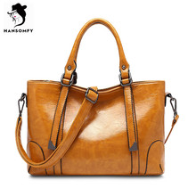 HANSOMFY Women Leather Tote Bags Classic PU Shoulder Bags Solid Satchels Female Zipper Versatile Popular Shopping Famous Brand(China)