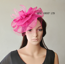 2017 NEW Hot pink fuchsia Sinamay Fascinator hat with feathers&veiling for Derby Races.Ascot.(China)