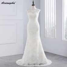 2017 Hot Lace Wedding Dress Appliques Mermaid Court Train Wedding Dresses Elegant Bride Dresses Wedding Gowns Vestido De Novia(China)