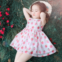 Baby Girls Dream Dress Cute Strawberry Fruit Print Big Little Sisters Baby Teens Clothes Kids Age56789 10 11 12 13 14Years Old(China)