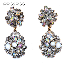 PPG&PGG 2017 hot sell Trend Fashion Pink White Crystal Statement Earrings Women Luxury Vintage Jewelry(China)